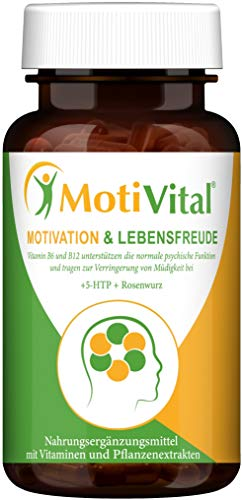 MotiVital® Motivation & Lebensfreude – Serotonin Dopamin Booster – 5-HTP hochdosiert 200mg, Rosenwurz, L-Tyrosin, Vitamin B6 B12 D3-100% Vegan & Made in Germany