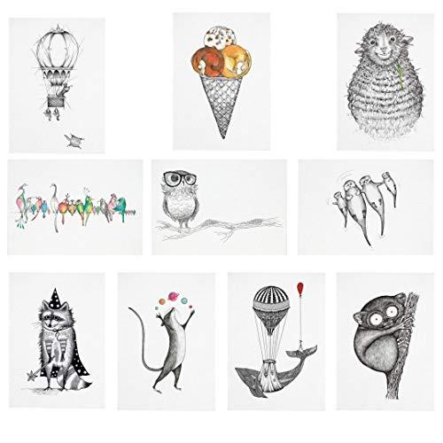 Ligarti Postkarten Set | 10 nachhaltige Grußkarten | Geburtstagskarte | Bambus Papier (Misch Masch Karten Kinder)