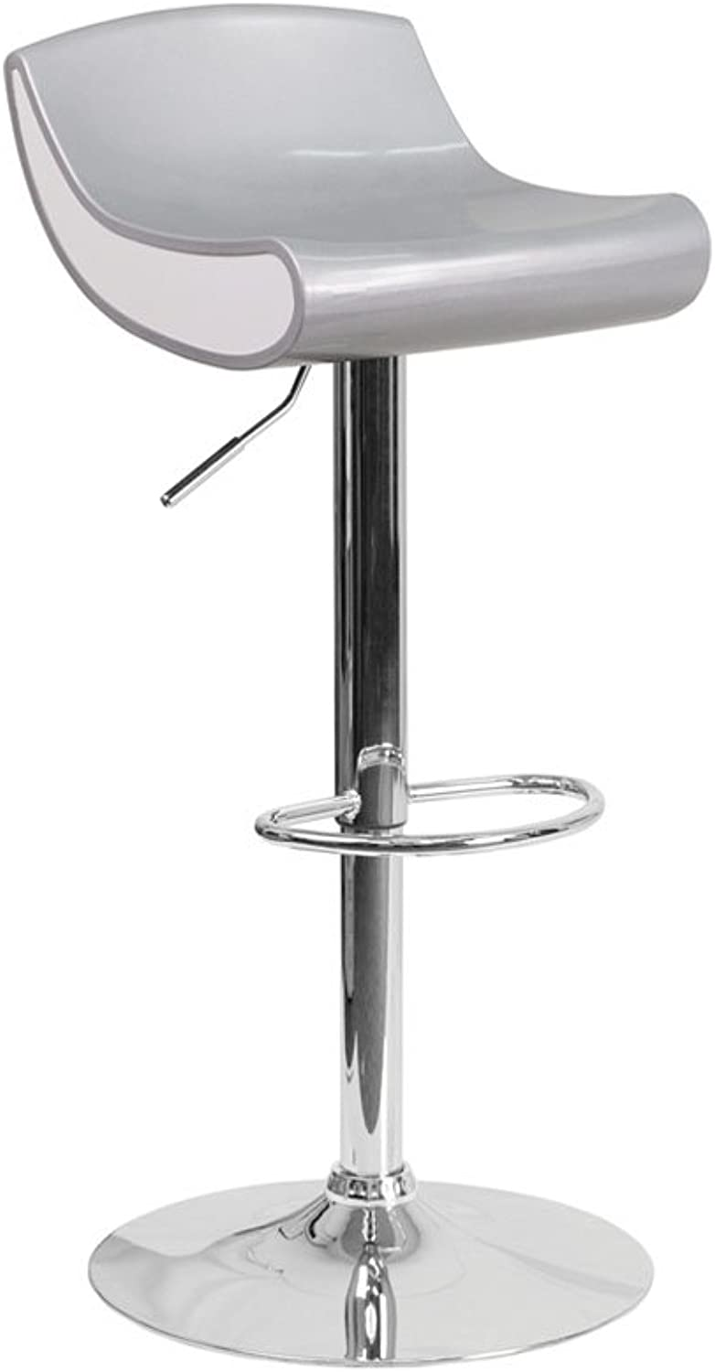 Offex Contemporary Adjustable Height Plastic Barstool with Chrome Base, 17.625  x 17.625  x 38.75 , Silver White (OFX-420230-FF)