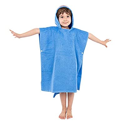 Kids Hooded Towel Poncho Boys, Super Absorbent & Soft Toddlers Hooded Bath Towel with Cute Design, 27.5 x 27.5 Inch After Pool Wrap Towel with Hood