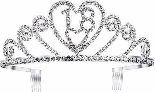 KEEBON Chicas 18th Cumpleaños Tiaras Ceremonia Rhinestone Decorado Corona Hairbanda