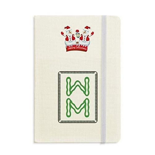Mahjong Notizbuch mit 8 Fliesen und Schneemann, Bambus, dick, Hardcover
