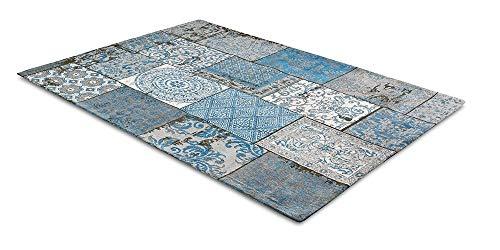 Alfombra Vintage LIFA LIVING con Bonito diseño de Patchwork, para salón y Dormitorio, variaciones de Colores y tamaños, 30% algodón, 70% poliéster (Azul y Gris, 80 x 150 cm)