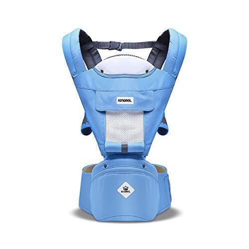 SONARIN Multifunktions Hipseat Babytrage, atmungsaktive Riemen, Ergonomische, 100{f25db5c3f84ebdbf323d9c1e3c75492bc10dc7d7014e311ba4b7b09028b9aef4} Baumwolle, Großraumlagerung, 11 tragende Positionen, sicher und komfortabel,Ideales Geschenk(Blauer See)