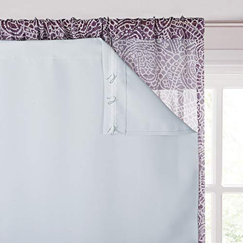 """KGORGE White Curtain Liners - Thermal Liner for Rod Pocket / Hook Hanging Method, Energy Saving Complete Darkness Window Panels, Hooks Included (Set of 2, W 45"""" x L 77"""", Grayish White)"""