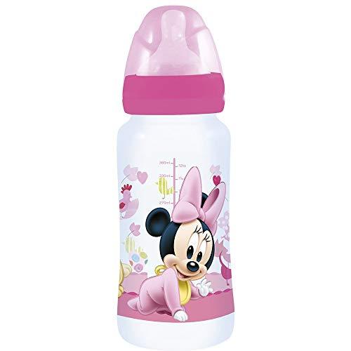 Biberón cuello ancho 360 ml tetina silicona 3 posiciones de Minnie Mouse (12/72)