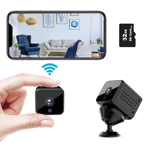 Femivo Spy Camera Wireless WiFi Mini Hidden Camera HD 1080P with Phone App Motion Detection IR Night Vision for Home Office Indoor Security Nanny Cam with 32GB Micro SD Card (2021 Newest)