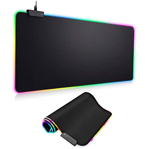 RGB Gaming Mouse Pad, Rocketek Large Extended Soft LED Mouse Pad with Anti-Slip Rubber Base 14 Lighting Modes 2 Brightness Levels, Waterproof Computer Keyboard Mousepad Mat 800 x 300mm/31.5 x 11.8inch