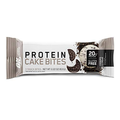 OPTIMUM NUTRITION Protein Cake Bites, Whipped Protein Bars, On The Go, Low Sugar, Protein Snack Cake Bites 9 Box (Cookies & Cream)