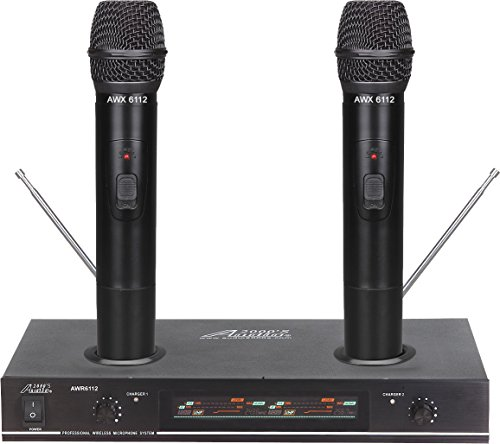 Audio2000s AWM6112 VHF Dual Channel Rechargeable Wireless Microphone