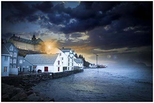 Wallario Glasbild Stadt am Meer in der Abenddämmerung - 60 x 90 cm in Premium-Qualität: Brillante Farben, freischwebende Optik