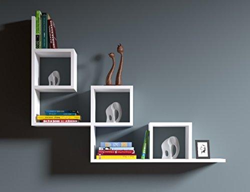 TAIL Mensola da muro - Mensola Parete - Mensola Libreria - Scaffale pensile per studio / soggiorno in un design moderno (Bianco)