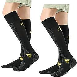 GUUMOR ski socks 2 pairs for skiing snowboarding - compression knee high women men winter sport socks outdoor socks yellow L 39-42