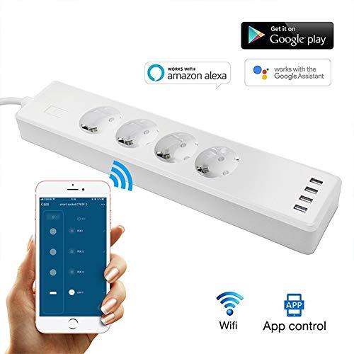 Smart Power Strip 16A 3840W Wifi-Overspanningsbeveiliging Stem Individuele Bediening Met 4 AC-Uitgangen 4 USB-Poorten 1.8 M Verlengsnoer Schakelaar Timer Afstandsbediening Via Smartphone APP