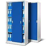 Jan Nowak by Domator24 Set di 2 Armadio Ufficio SD001 con Ante scorrevoli lamiera d'Acciaio scaffali verniciatura a Polvere bloccabile 185 cm x 90 cm x 40 cm (Grigio/Blu), Metallo