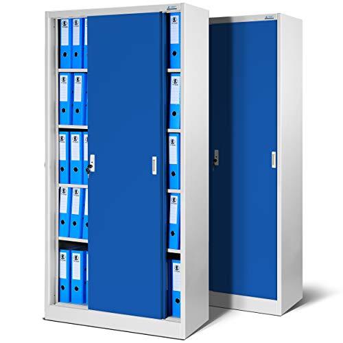 Jan Nowak by Domator24 - Juego de 2 armarios de Oficina SD001 con Puertas correderas, Chapa de Acero, estantes barnizados con Polvo bloqueable 185 cm x 90 cm x 40 cm (Gris/Azul), Metal