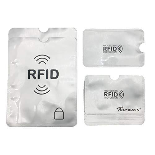 Topways® RFID & NFC Blocking Schutzhüllen Set (12 Stück) für Bankkarte,Kreditkarte, Personalausweis, Reisepass, Ausweis - Schutz gegen unerlaubtes Auslesen - Kreditkarten RFID Blocker