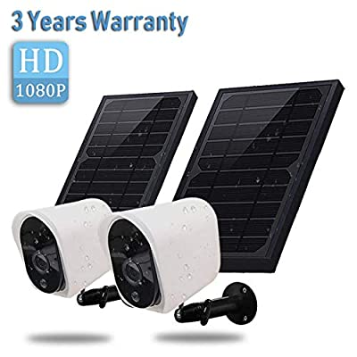 Wireless Rechargeable Battery Powered Security Camera with Solar Panel, 1080p HD Waterproof Outdoor Home Surveillance with Motion Detection, Two Way Audio, Night Vision(2 Pack)