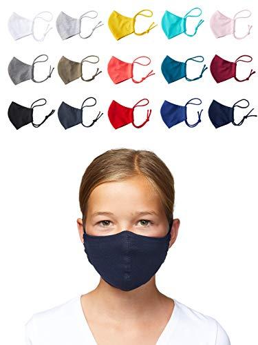 Enter the Complex® Mund und Nasenmaske Waschbar bei 60 Grad, zum Binden, Weiche Behelfsmaske für Kinder und Jugendliche, 6 bis 13 Jahre, Baumwolle, Weinrot