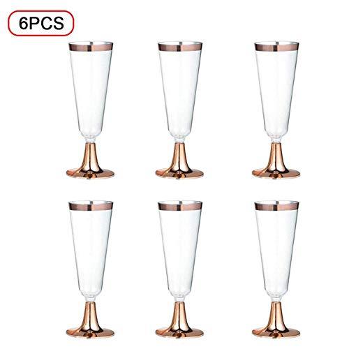Ltong 6 stks wegwerp plastic wijnglas champagne fluiten glazen cocktail party bruiloft drink cup kerst western cuisine cups, rose goud