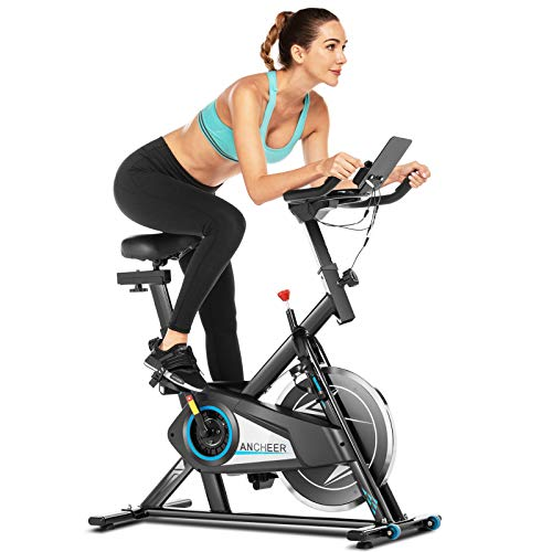 ANCHEER Exercise Stationary Bike, Indoor Cycling Bike Belt Drive with APP Connection, Adjustable Resistance, LCD Monitor, Comfortable Cushion,Pad/Phone Holder, Quiet for Home Gym Cardio Workout
