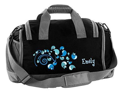 Mein Zwergenland Multi Sporttasche Kinder mit Schuhfach und Feuchtfach Coole Sporttasche Tropfen als Aufdruck Farbe Schwarz 41 L Stauraum die perfekte Sporttasche für Kinder