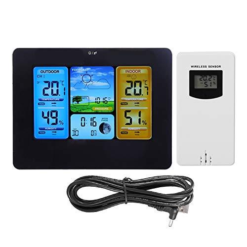 Kabellose Wetterstation für Innen und Außenbereich,LCD-Digital kabellose Wetterstation,Uhr tragbar für Wandmontage oder nach rechts Thermometer(schwarz)