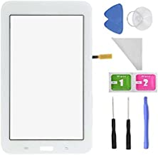 White Touch Digitizer Screen Replacemen for Samsung Galaxy Tab 3 Lite 7.0 T110 SM-T110 (No Earpiece Hole - Black) + PreInstalled Adhesive with Tools
