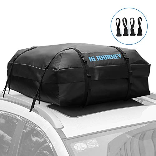 Tchipie Car Rooftop Cargo Carrier Bag, Soft Roof Top Luggage Bag for All Vechicles SUV with/Without Racks - Upgraded Waterproof Zipper, Anti-Tear Coated PVC, Reinforced Strap Seam, 15 Cubic Feet