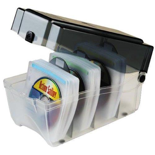 Hama CD Sleeve Box für 150 CD/DVDs/Blu-Rays (inkl. Schutz-Hüllen, Indexkarten, Kunsstoffteilern) transparent-graphit