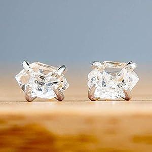 Raw Herkimer Diamond Stud Earrings in Sterling Silver, Dainty, Minimalist