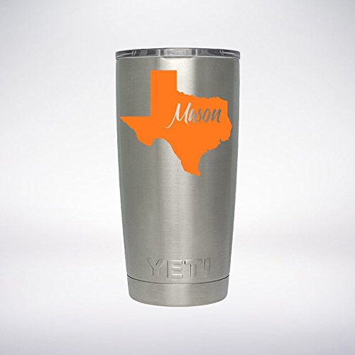 TEXAS Your Name Text Custom Decal for YETI Rambler Tumbler 20 oz 30 oz Sticker - You pick Font and Any State