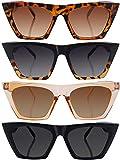 Frienda 4 Pares de Gafas de Sol Cuadradas Vintage con Ojo de Gato Gafas de SOl Unisex Gafas de Sol Retro Cateye para Mujeres y Hombres