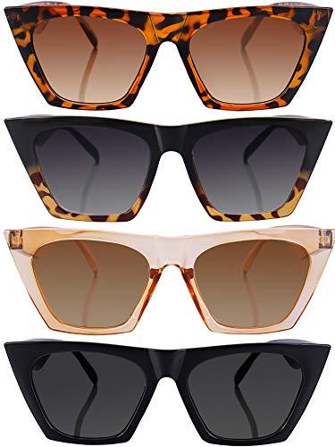Frienda 4 Paia Vintage Occhiali da Sole Quadrati di Occhio di Gatto Unisex Occhiali a Specchio Occhiali da Sole Retrò Cateye per Donne e Uomini