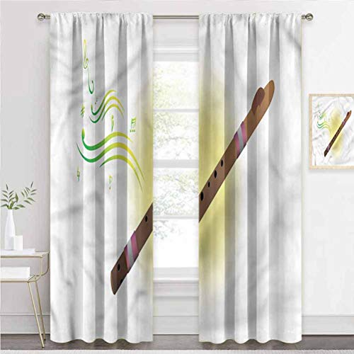 painting-home Grommet Window Curtain Flute, Woodwind Aerophone Window Draperies Goes Well with Many of Decors W72 x L72 Inch