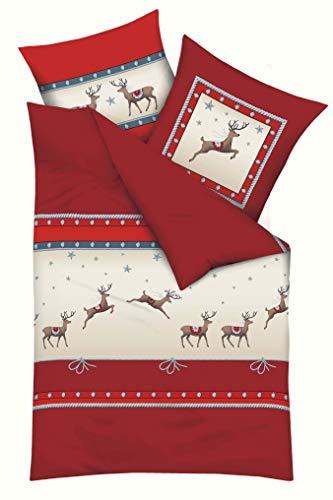 Kaeppel Exklusive Biber Winterbettwäsche - Hirsch Streifen - weich, flauschig und pflegeleicht, 2 teilig 135x200 + 80x80 cm, Rot. Ideal für den Winter geeignet.