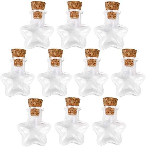 Shanggup - 10 botellas de cristal con tapón de corcho, aptas para proyectos de manualidades, decoración, regalos (forma de estrella)