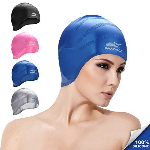 Whale Silicone Bonnet de Bain Avec Poches d'oreille pour Femme et Hommes Adultes Unisexe Imperméable Swim Chapeaux