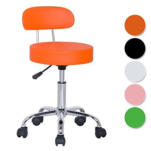 SixBros. Sitzhocker höhenverstellbar, Drehhocker mit Rollen, Hocker aus Kunstleder, verstellbar, Rückenlehne, orange