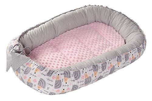 Nido Bebé Recién 95x50cm plantilla removible Medi Partners 100% Algodón Cunas nido para bebés Reductor de Cuna de dos caras (Erizos con rosa claro Minky)