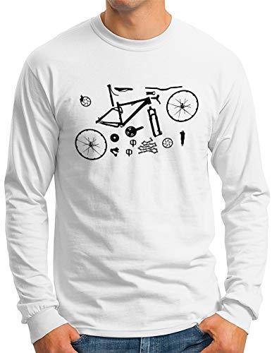 OM3® Mountain-Bike-Parts Langarm Shirt | Herren | MTB Bicycle Fahrrad Radsport Radfahrer | Weiß, S