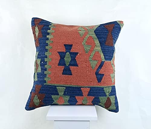 kelim kissenbezug 45x45 cm handgefertigt kelim teppich kopfkissen dekorative kissenhülle dekokissen sofakissen zierkissen code A1414