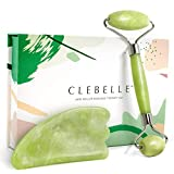 Jade Roller Massage Therapy Set - 2 in 1 Beauty Skin Care Gift Set With Gua Sha Scraping Tool Massager For Face - Anti Aging 100% Real Natural Jade Stone By Clebelle