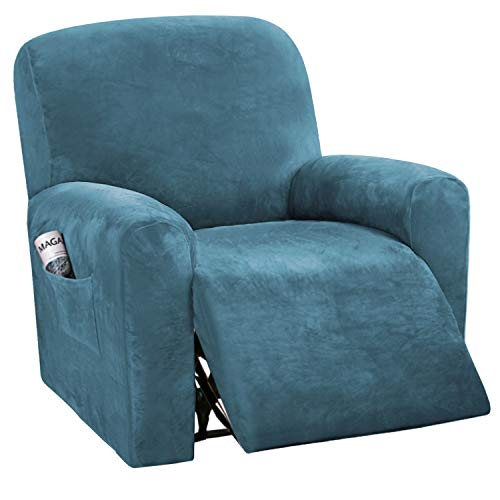 BellaHills Velvet Sofa Slipcovers Spandex Plush Furnitue Cover Deluxe Lounge Cover, Stretch Sofa Protector for Dogs High Stretch Furniture Protector Cover for Recliner (Recliner, Peacock Blue)