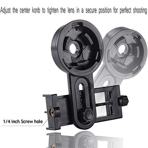 BEESCLOVER - Adaptador Universal multifunción para cámara de teléfono móvil para Montura de telescopio Binocular, Color Negro