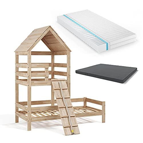 VitaliSpa Kinderbett Teddy 90x200cm Spielturm Bett Spielbett Jugendbett Hausbett inklusive Matratze Natur (Natur)