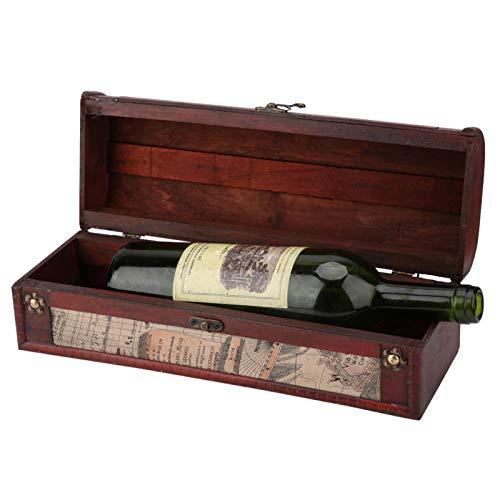 Caja de regalo y estuche de transporte de vino de madera con etiqueta de pizarra Vino tinto de madera vintage Champán Embalaje de una sola botella Caja de almacenamiento Regalo de cumpleaños de boda