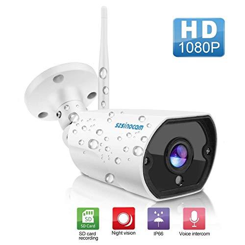 1080P Full HD Überwachungskamera, WLAN, für den Außenbereich, IP66, kabellose IP-Kamera mit Bewegungserkennung, Alarm-Schiebung, Zwei-Wege-Audio, Fernzugriff, Nachtsicht von 20 m