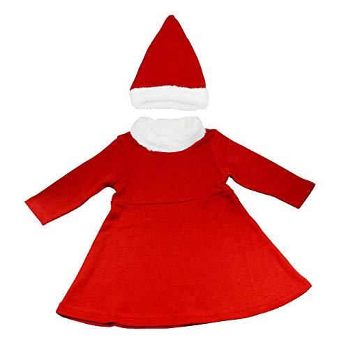 OZYOL Mädchen Baby Weihnachtsmann Kostüm 2-teiliges Set Kleid mit Weihnachts-Mütze Nikolausmütze Nikolaus Weihnachten für Kleinkinder und Neugeborene 3-18 Monate (Rot, 6M (68))