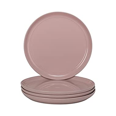 10 Strawberry Street DBL-4-PNK-DS Double Line 8.25  Salad Plate-Set of 4, Pink